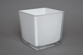 A730IH Vase en verre blanc 14x14x14cm