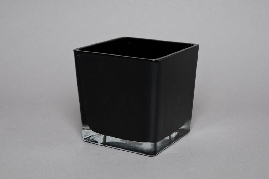 A735IH Vase en verre noir 12x12x12cm
