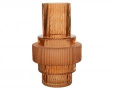 A753KI Vase en verre pyramide ambre H26cm