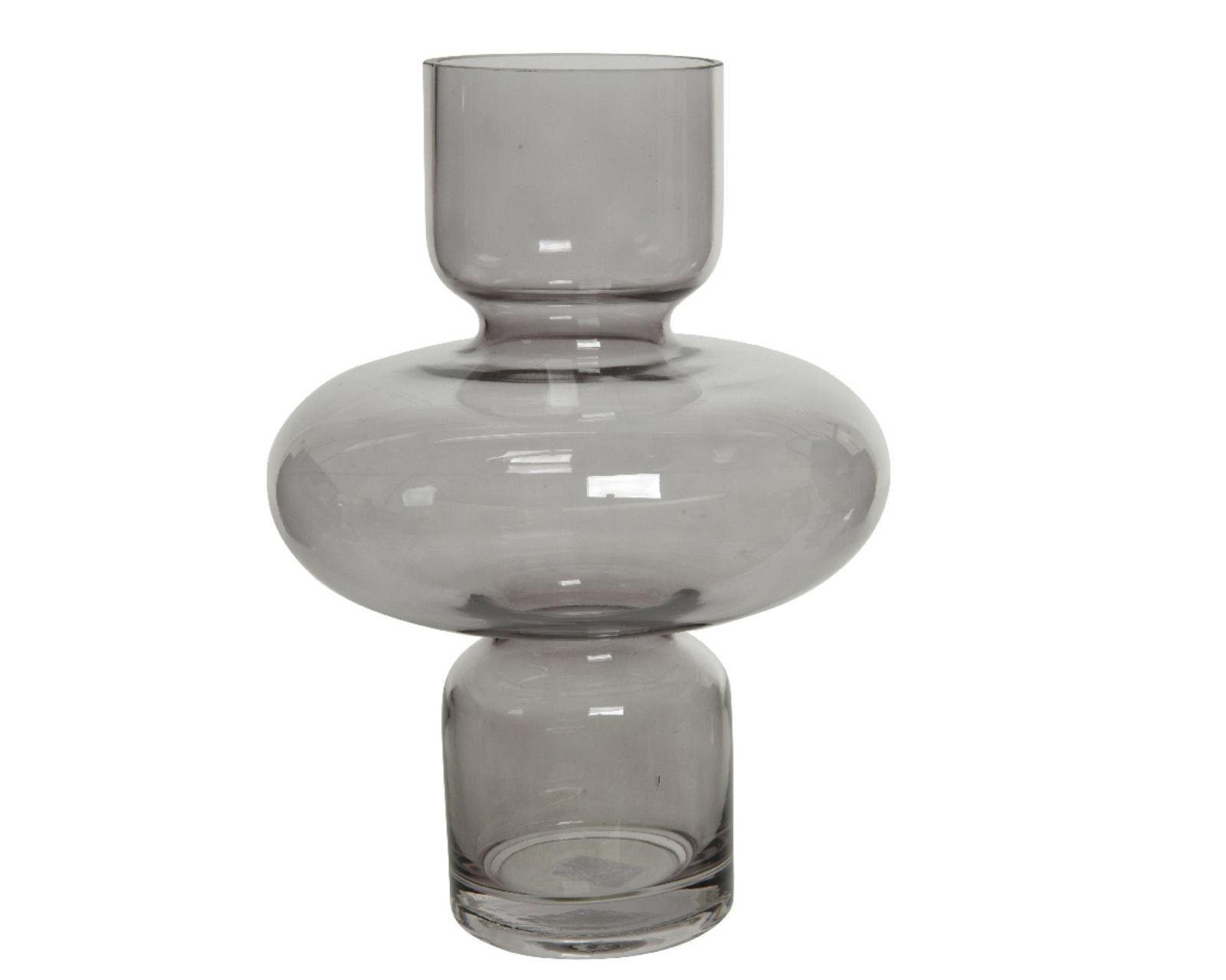 A755KI Vase en verre totem gris H33cm
