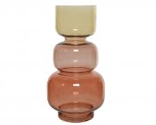A756KI Vase en verre totem ambre et brun H36cm