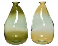 A758KI Vase en verre vert ou ocre H36cm