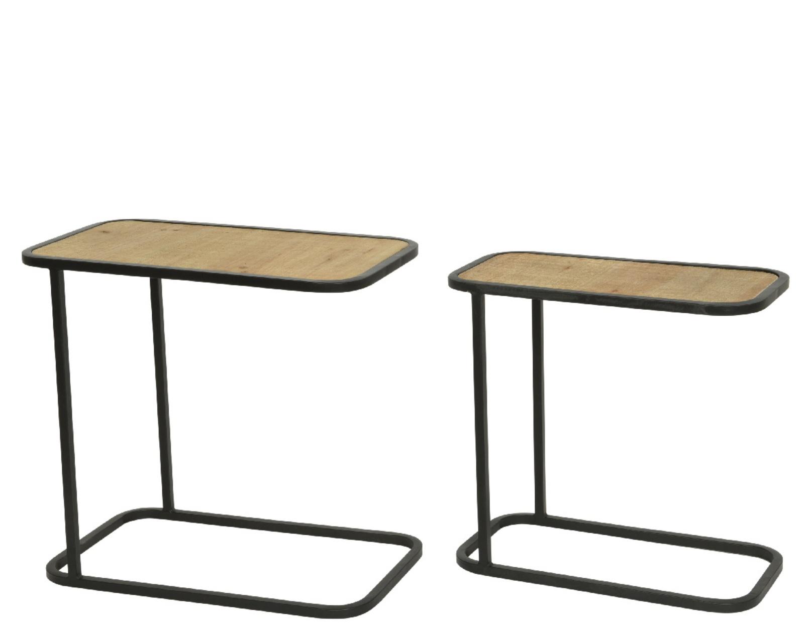 A759KI Set de 2 tables basses en bois et métal H52cm