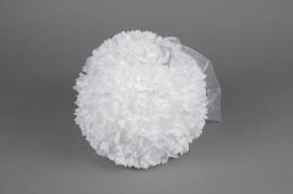 A770DQ Boule fleur en tissu blanc D36cm