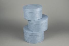A770UN Set de 3 boîtes en carton bleu