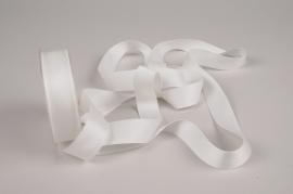 A785UN Ruban satin blanc ivoire 25mm x 15m