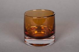 A787W3 Pot en verre ambre D9cm H8.5cm