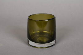 A789W3 Green glass pot D9cm H8.5cm
