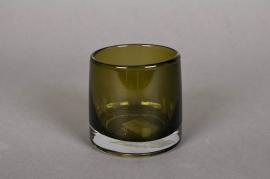 A789W3 Pot en verre vert D9cm H8.5cm