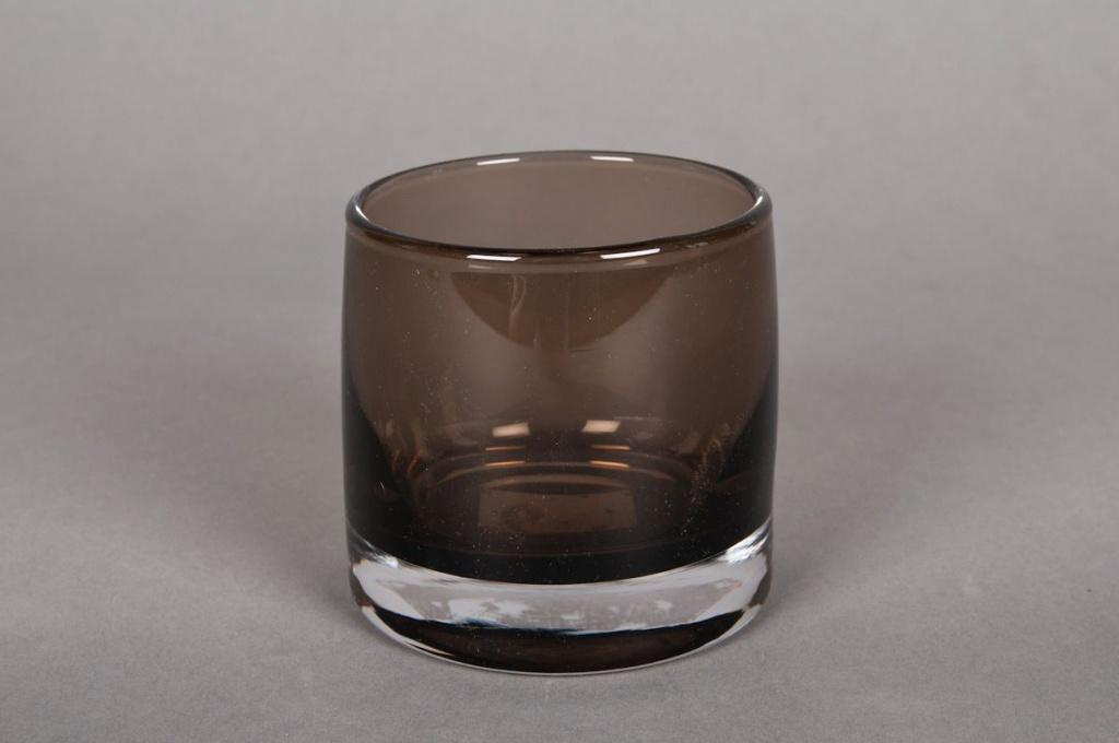 A790W3 Pot en verre gris D8cm H12cm