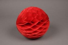 A822GM Boule en papier à suspendre rouge D25cm