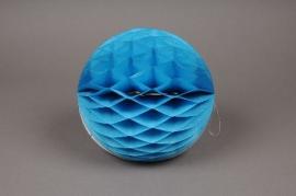 a823gm Boule en papier à suspendre bleu D25cm