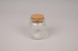 A843UN Glass vase bottle with cork D5cm H6.5cm