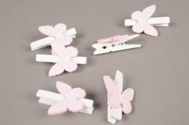 A844GM Pack of 6 white wooden clips with pink butterfly H5cm