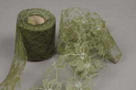 A851GM Green lacework roll 8cm x 20m