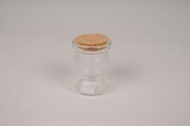 A865UN Glass vase bottle with cork D5cm H7cm