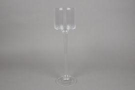 A905W3 Stemmed glass tea light holder D9cm H33cm