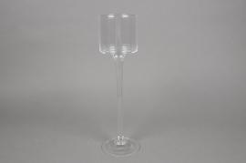 A905W3 Stemmed glass tea light holder D9cm H33cm