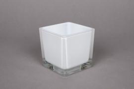 A906IH Vase en verre blanc 8x8x8cm