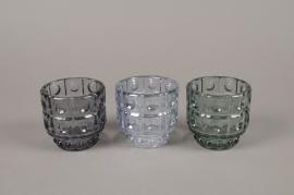 A973LE Photophore en verre assortis D9cm H9cm