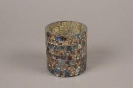 A975LE Photophore en verre mosaïque D9cm H10cm