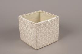 A976LE Cache-pot en céramique blanche 15x15cm H14cm