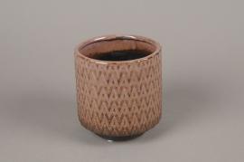 A984LE Cache-pot en céramique rose D13cm H14cm