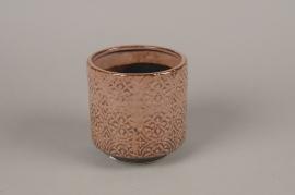 A985LE Cache-pot en céramique rose D13cm H14cm