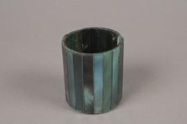 A986LE Glass peacock candle jar D6cm H7cm