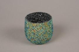 A989LE Glass sequins candle jar D8cm H7cm