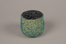 A989LE Glass sequins candle jar D8cm H7cm
