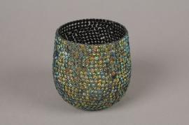 A990LE Glass sequins candle jar D11cm H10cm