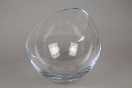 A990W3 Vase boule en verre biseauté D30cm H25cm
