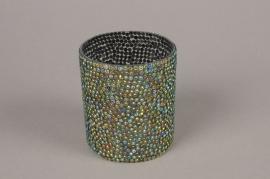 A991LE Glass sequins candle jar D8cm H9cm