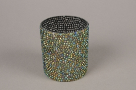 A991LE Glass sequins candle jar D8cm H9cm