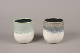 A994LE Assorted ceramic planter D11cm H12cm