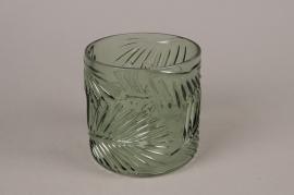A996LE Green foliage glass vase D12.5cm H12.5cm