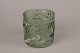 A996LE Vase feuillage en verre vert D12.5cm H12.5cm