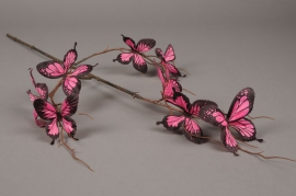 x984nn Artificial branch with fuchsia butterfly H85cm