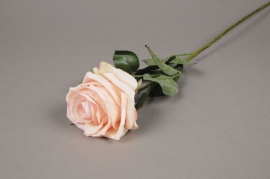 x866nn Artificial cream and pink rose H64cm