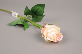 x284mi Artificial cream pink rose H52cm