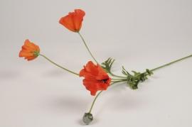 artificial orange poppy 3 flower + 1bud H64cm