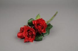 x513jp Tige 4 roses artificielles rouge H40cm