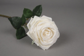x136fp Rose artificielle velour blanc H50cm