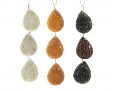 X869KI Assorted plastic pendant with strass black, silver or gold diameter 3x12cm
