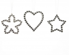 X855KI Assorted star, flower and heart with pearls transparent height 9cm