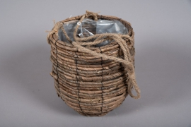 B010DQ Weaved planter basket to hang D33cm H33cm