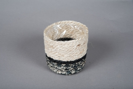 B016DQ Cache-pots en corde naturel et noir D12.5cm H13cm