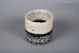 B017DQ Cache-pots en corde naturel et noir D14cm H15cm