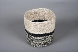 B018DQ Cache-pots en corde naturel et noir D17cm H17cm